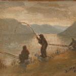 Pesca alla tinca, Caslano 1937 - olio 41x31 cm - Proprietà: Museo della Pesca, Caslano