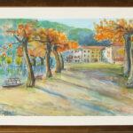 Piazza lago, Caslano 1978, acquarello 74x54 cm