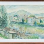 Fiume Tresa, Ponte Tresa 1958, acquarello 94x66 cm