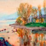 Sera sul fiume Magliasina, 1976 - acquarello cm