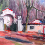 Vecchio cimitero, Neggio 1964 - Acquarello 44x36 cm Proprietà: Matilde Bonetti - Soldati