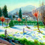 Inverno in campagna, Magliaso 1973 - Acquarello 70x50 cm