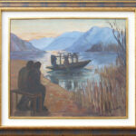 Pescatori al crepuscolo, Magliaso 1930, tempera 82x70 cm