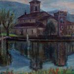 Chiesa di Lavena, Lavena 1930 - olio 55x45 cm