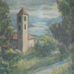 Chiesa di S. Ambrogio, Cademario 1968 - acquarello 50x60 cm - Proprietà: Comune di Cademario