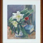 Rosa e libro, Caslano 1951 - acquarello 24x33 cm
