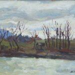 Riva al fiume, Ginevra 1937 - olio 40x41 cm